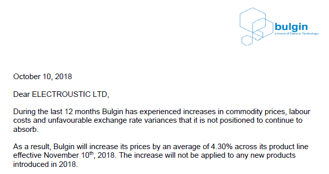 Bulgin Price Increase